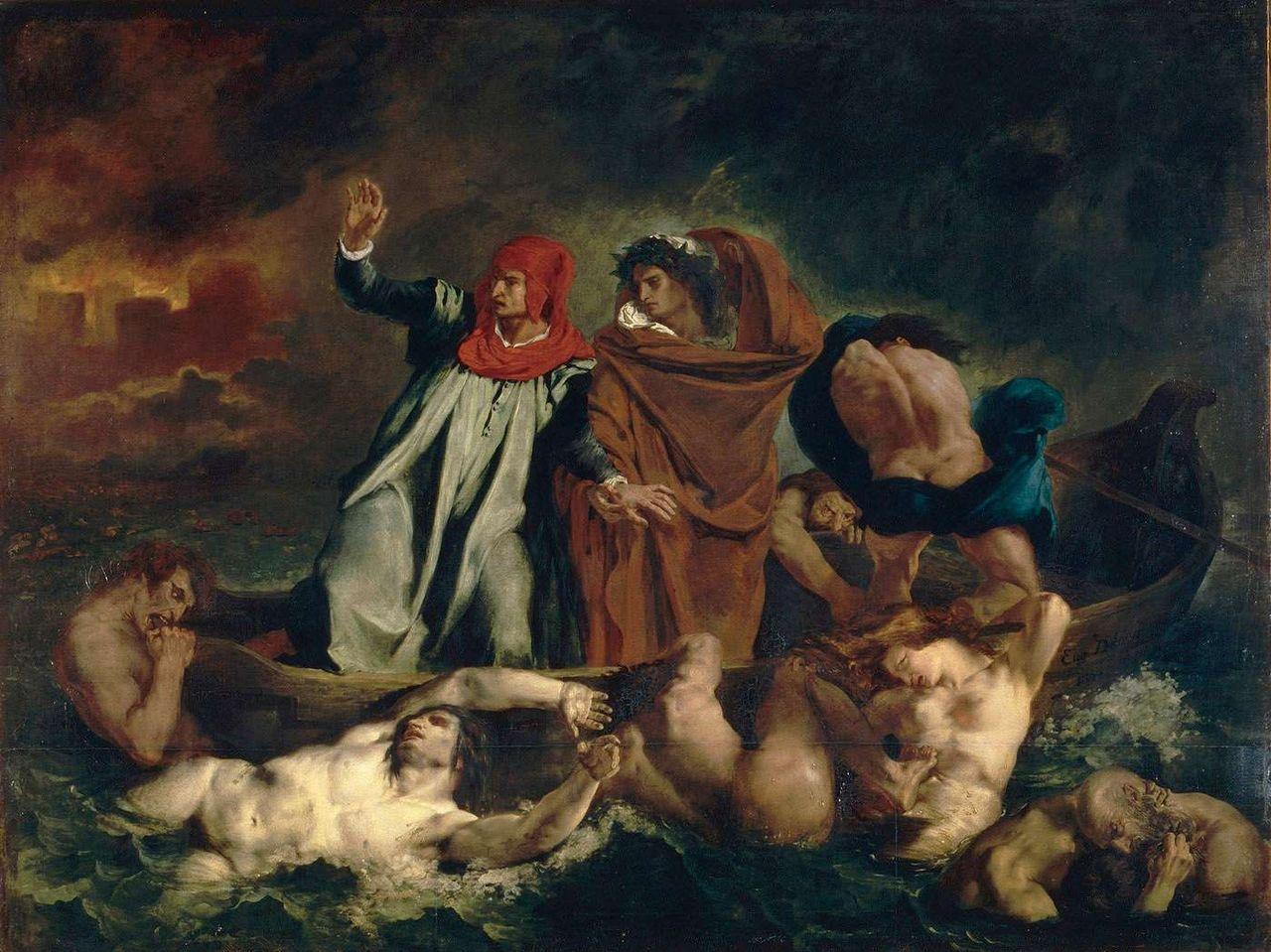 """""""La Barque de Dante,"""" Eugène Delacroix, 1822, oil on canvas."""