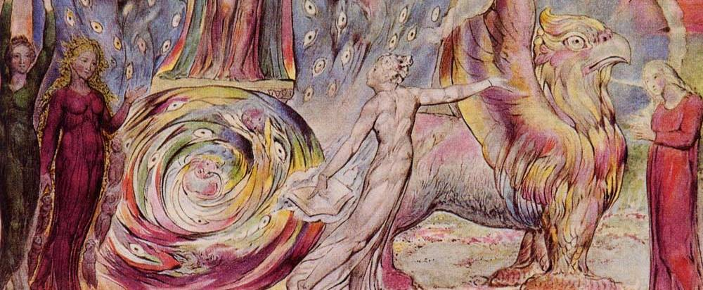 "Detail from ""Beatrice Addressing Dante"" (Purg. 30: 60-146) by William Blake, 1824-27, ink and watercolor on paper."
