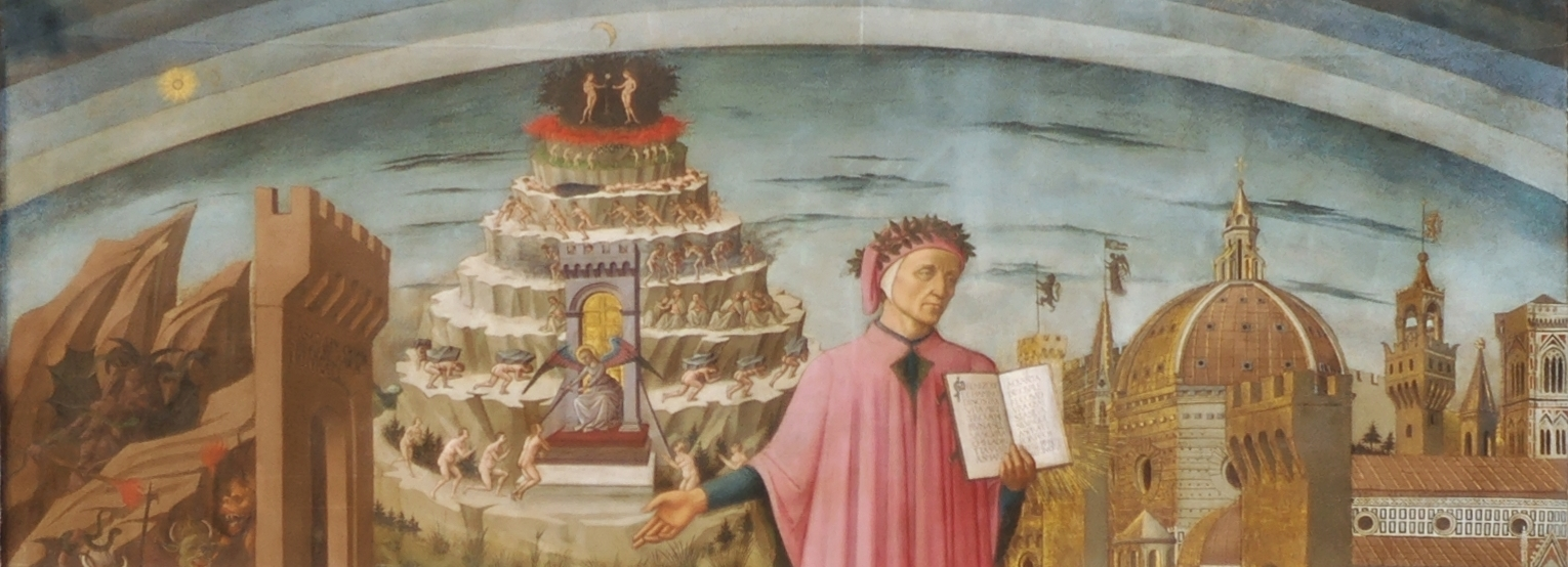 "Detail from ""Dante and the Three Kingdoms"" by Domenico di Michelino, 1465, oil on canvas."