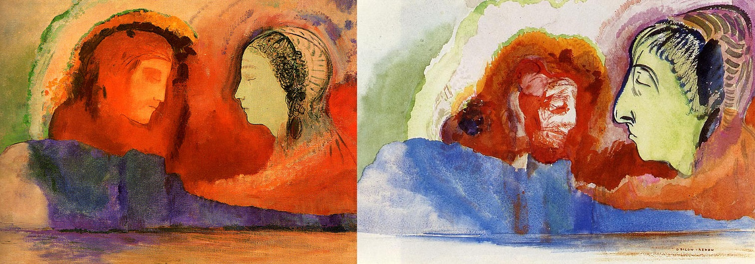 """Odilon Redon, """"Dante et Beatrice"""" and """"La Vision de Dante,"""" ca. 1914, watercolor on paper."""